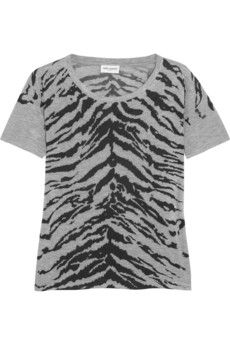 Saint Laurent Tiger-print stretch-jersey T-shirt | NET-A-PORTER