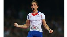 Renaud Lavillenie of France celebrates an attempt during the Men's Pole Vault Final on Day 14.