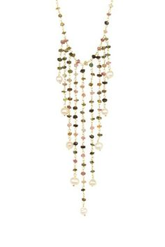 Tourmaline & 2-3mm Pearl Fringe Bib Necklace by Forever Creations USA Inc. on @HauteLook