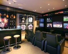 Basement ideas, do not like the dark colors, but the set up is nice
