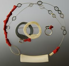 Necklace |  Elfi Spiewack.  The brooch and the ring are from the same designer.