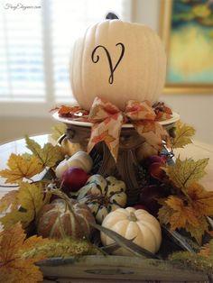 Quick Decor Tip Easy Monogram Pumpkins by FrugElegance http://frugelegance.com/post/100831818387/quick-fall-decor-tip-easy-monogram-pumpkins #falldecor #fall #pumpkin