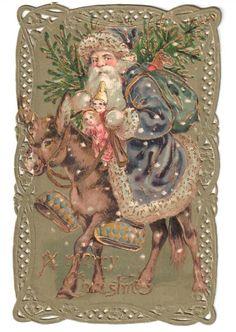RARE Vintage Die Cut Christmas Santa Claus Postcard Donkey Snow Sack Toys Tree | eBay