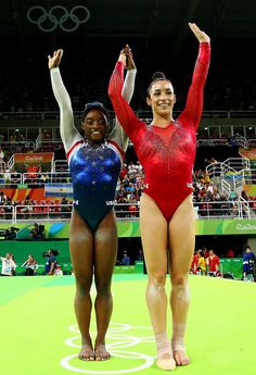 Simone Biles and Aly Raisman of the United States react after competing during the Women's Individual All Around Final on Day 6 of the 2016 Rio Olympics at Rio Olympic Arena on August 2016 in Rio de Janeiro, Brazil. Team Usa Gymnastics, Artistic Gymnastics, Olympic Gymnastics, Olympic Team, Gymnastics Girls, Olympic Games, Gymnastics Problems, Tumbling Gymnastics, Gymnastics Stuff