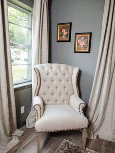 A close up of the sitting area in the master bedroom of the newly renovated Jones home, as seen on Fixer Upper. (after)