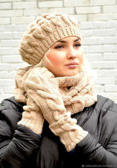 Купить Комплект вязаный «Беж», берет, снуд и удлиненные варежки - бежевый, берет, варежки, аксессуары Knitted Shawls, Crochet Shawl, African Hats, Creative Knitting, Poncho, Scarf Hat, Winter Trends, Womens Scarves, Hats For Women