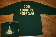 GOD, COUNTRY, NOTRE DAME Golden Dome Irish green long-sleeve T-Shirt Men's Large #Majestic #NotreDame