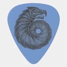 Guitar Pick AMMONITE black on blue Irish Celtic, Dragon Slayer, Greek Art, Ammonite, Guitar Picks, Blue Moon, Fossil, Symbols, Rock