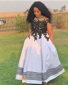 looks gorgeous in this dress by Reposted from African Traditional Wedding Dress, African Fashion Traditional, Traditional Styles, African Wear Dresses, African Attire, Xhosa Attire, Big Girl Fashion, Emo Fashion, African Print Fashion
