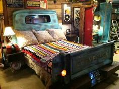 truck parts make up the headboard and footboard for this unique bed — fully equipped with a lit license plate.Repurposed truck parts make up the headboard and footboard for this unique bed — fully equipped with a lit license plate. Car Bedroom, Kids Bedroom, Bedroom Decor, Bedroom Ideas, Bed Ideas, Master Bedroom, Dream Bedroom, Trendy Bedroom, Design Bedroom