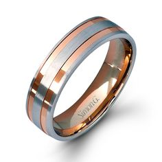 LG104 - This impressive 14K white and rose gold mens band is comprised of a contrast of hues. - LG104