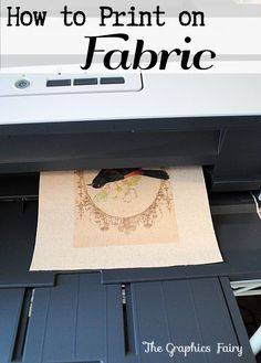 How to Print on Fabric - Freezer Paper Method - The Graphics Fairy. This is a fun and easy technique for printing on fabric with your home printer! You can make so many beautiful crafts with this DIY Decorating idea! Great for vintage projects too!