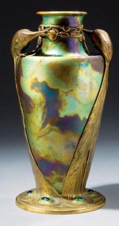 Zsolnay, Pécs, Eosin-Glaze Decorated Earthenware Vase and Georg Friedrich SCHMITT Metal Mounts.