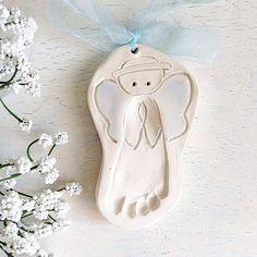 Custom Newborn Keepsake - Newborn Personalized Gift - Foot Print Ornament - Baby Memento - Angel Baby - Grandmas Angel - New Mom