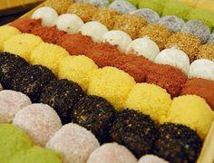 Gyeongdan (Sweet rice balls) - Sticky rice balls, rolled in cinnamon, black sesame, or soybean powder