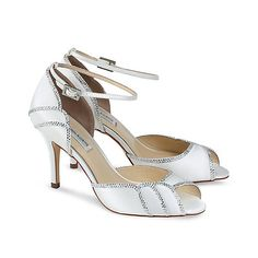 The beautiful deco style packham peep toe sandal has crysal adorned scalloped details. with an ankle strap for extra support, silk and leather lined for extra comfort.