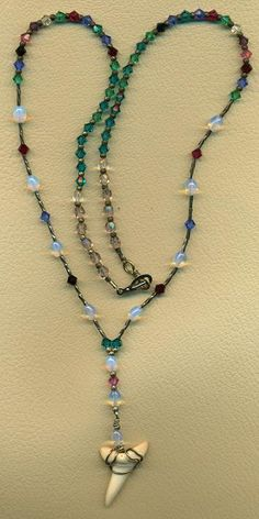 Fossil Tooth Beaded Necklace
