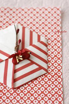 折り紙で紅白箸置き