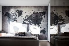 Map Ideas To Liven Up Your Space. Maps are a great way to cover your walls and make things interesting. [Via: Gaile Guevara] California Map, California Homes, Map Wallpaper, Custom Wallpaper, H Design, House Design, Geography Lessons, Bedroom Murals, Inspirational Wallpapers