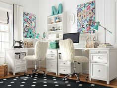 Beadboard Floral Study Space