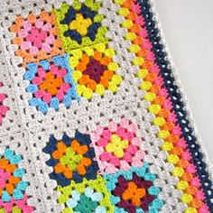 Crochet Pattern Colorful Granny Square Blanket by ColornCream