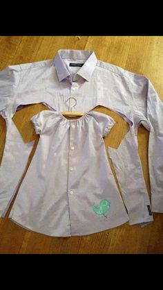 Repurpose an old button up to make a child's dress.