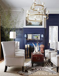 Navy room & white wingback chairs