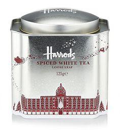 @Harrods Christmas blend spiced loose leaf tea, white tea.