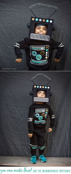 Halloween DIY Robot Costume for Kids! This felt and iron-on vinyl DIY costume is… Halloween DIY Robot Costume for Kids! This felt and iron-on vinyl DIY costume is an easy way to make your own costume this Halloween! Fairy Halloween Costumes, Boy Costumes, Halloween Kids, Science Costumes, Halloween Halloween, Halloween Outfits, Robot Costume Diy, Diy Robot, Costume For Kids