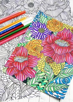 free flower coloring page from alisa burke