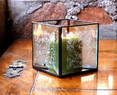 Stained Glass Candle Holder Beveled Clear by GreenhouseGlassworks, $20.00