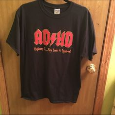 Funny ACDC shirt Worn once. Perfect condition. Men's large.        Tags: ACDC ADHD Tops Tees - Short Sleeve