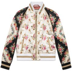 Gucci Rose Print Silk Bomber Jacket (62,990 MXN) ❤ liked on Polyvore featuring outerwear, jackets, coats, gucci, bomber jackets, leather & casual jackets, ready-to-wear, rose, women and rose jacket