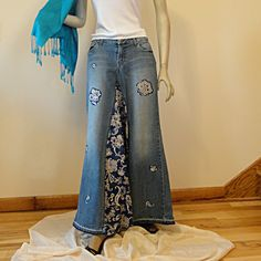 Pretty in Paisley Long Jean - Made to Order Long Jean Skirt. $62.00, via Etsy.