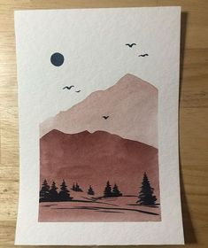 To try with coffee - Art Sketches Creative Watercolor Landscape, Simple Watercolor, Watercolor Water, Watercolor Ideas, Tattoo Watercolor, Watercolor Techniques, Watercolor Animals, Watercolor Background, Abstract Watercolor