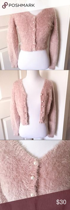 Ank Rouge Mauve Pink Fuzzy Cardigan With Pearl This cardigan is perfect for larme inspired coords and chilly days! Brand new never work thanks for looking! Sweaters Cardigans