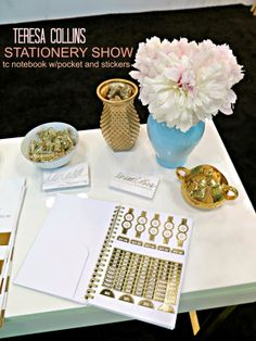 Stationery show... TC gold foiled notebook with gold stickers and pocket.