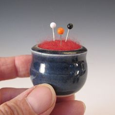 Pin Cusion:  //  Itty Bitty Navy Blue Pin Cushion  Pottery with Needle Felted Wool by tlgpottery on @Etsy