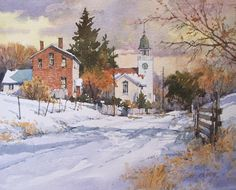 Paris Shadows x image watercolor SOLD Noyo Harbor Parking x image watercolor Available at Brushworks Gallery, S. Watercolor Architecture, Watercolor Landscape, Landscape Art, Landscape Paintings, Painting Snow, Winter Painting, Winter Art, Winter Road, Watercolor Pictures