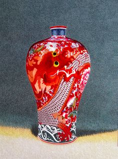 """Red Dragon Jar #Beautiful #Handmade #Silk #Embroidery #Art 78004 http://www.queensilkart.com/100-handmade-embroidery-framed-still-life-red-dragon-vase-78004/ Many experts believe the first porcelain was made in China, 1000 BC. Dragon jars, like this one, were also called """"Soul Jars"""", a funerary jar with an inscribed top. The jars were placed in tombs."""