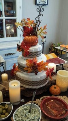 My daughter Chelsey made this fabulous diaper cake for her sister's fall themed baby shower.