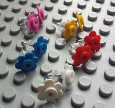 LEGO® Flower Earrings by Brickreate on Etsy $4.49