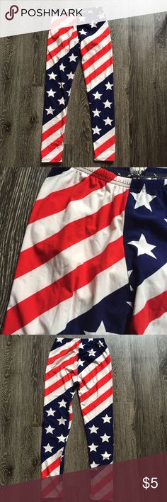 American flag leggings Worn 1x. Perfect for Fourth of July or summer parties in general. Very soft material, one size fits most. There is some loose thread on the waistband, but this does not affect the wear at all. Pants Leggings