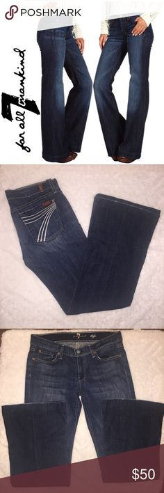 "7 FAMK dojo jeans 7 FAMK dojo fit, dark jeans w/ nice light wash, great flare jeans to with wedges/high heels! EUC SIZE 28, 98% cotton, 2% spandex, waist laid flat 16"", rise 8"", inseam 30.5"" they have been hemmed. Offers welcome, pet free smoke free home, no trades 7 For All Mankind Jeans Flare & Wide Leg"
