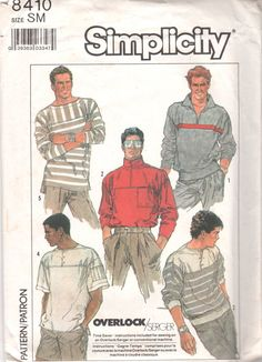 Simplicity 8410 1980s Teens Mens Pullover Knit Top sewing pattern by mbchills,