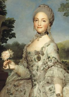 NOT Marie Antoinette:   Maria Luisa of Parma, Queen of Spain, a contemporary of the French queen's, and 2nd cousin 1x removed of Louis XIV's.