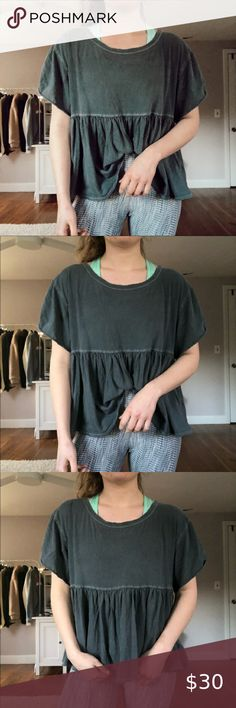 Women's Free People Fp Movement Hold It Down Dip Dye T Shirt, Size X Small Blue