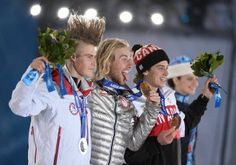 Medalists in the men's slopestyle at the 2014 Olympic Winter Games in Sochi -- from left, Silver Medalist Staale Sandbech (Norway); gold medalist Sage Kotsenburg (US); bronze medalist Mark McMorris (Canada)