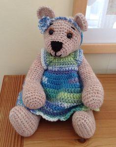 Crocheted Bear in a Dress Crocheted Artists Bear by BlueShedCrafts
