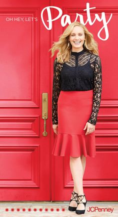 Need a quick and easy look for your holiday party? A tie-neck blouse featuring lace details pairs perfectly with a pencil skirt. Try it in a red to add a pop of festive color. Then go back to black with strappy lace-up heels. Add a dazzling bracelet or earrings and you're ready to party!